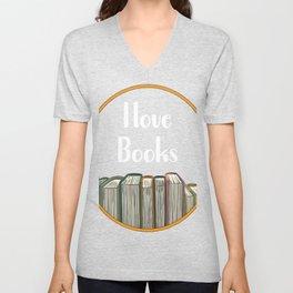 Bookshelf reading books Unisex V-Neck