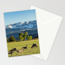 A Herd of Black-Tailed Mule Deer Graze Near the Base of the San Juan Mountains in Ridgway, Colorado Stationery Cards