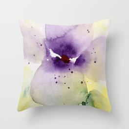 Watercolor Flowers - Pansy Throw Pillow