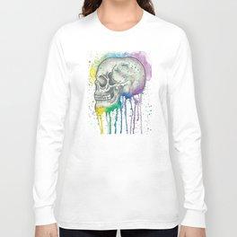 Watercolor Skull Long Sleeve T-shirt