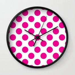 Pink Large Polka Dots Pattern Wall Clock