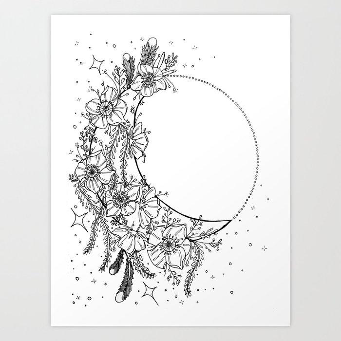 White Flower Moon Stardust Crescent Moon Dream Catcher Art Print