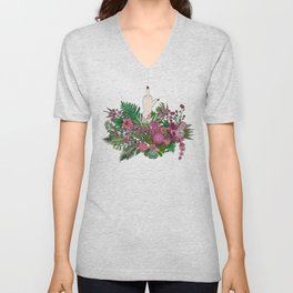 Botanical Bird Bouquet Unisex V-Neck