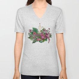 Botanical Bird Bouquet Unisex V-Neck