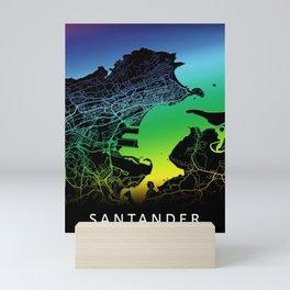 Santander, Spain, City, Map, Rainbow, Map, Art, Print Mini Art Print