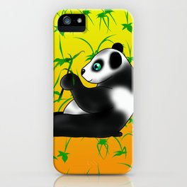 Two pandas eating bamboo on a yellow background iPhone Case