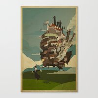 castle Canvas Prints featuring Moving Castle by Danny Haas