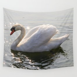 one swan a swimming Wall Tapestry
