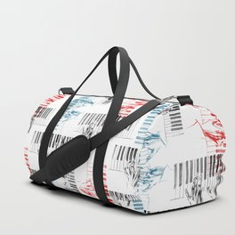 A piano pattern in black/red/blue Duffle Bag