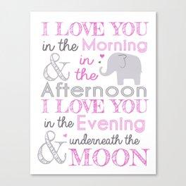 Elephant nursery print - Pink Canvas Print