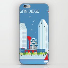 San Diego, California - Skyline Illustration by Loose Petals iPhone Skin