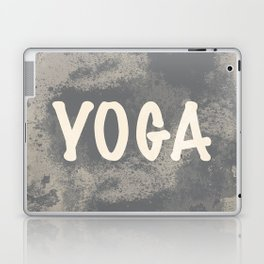 Yoga word with a grunge gray background Laptop & iPad Skin