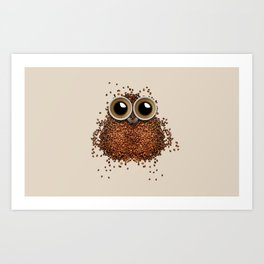 Coffee beans and cups forming owl Art Print