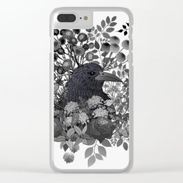 Raven in the Garden of Departed Botanicals Clear iPhone Case