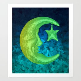 Magical Shining Half Moon with Star Art Print