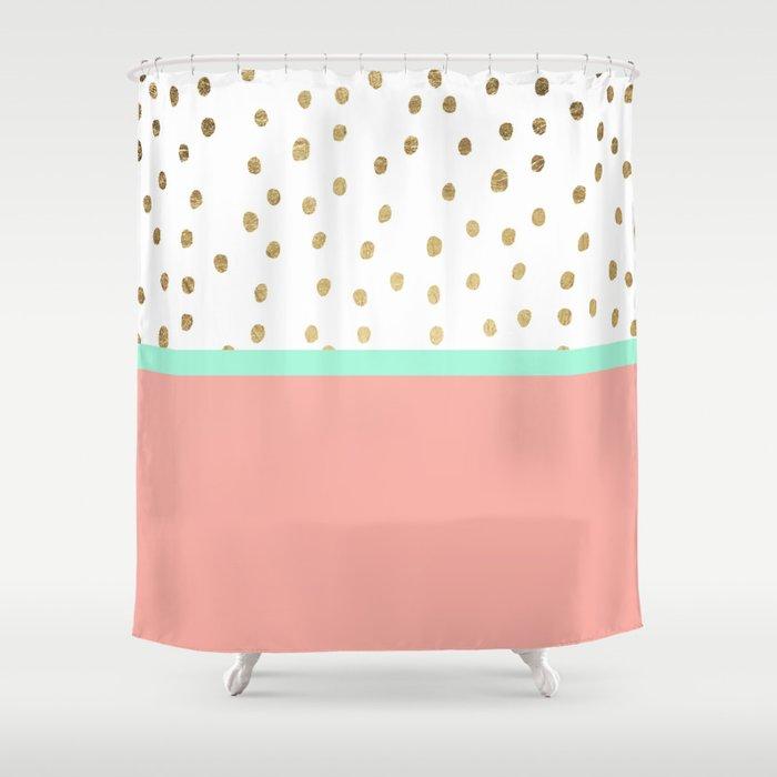 Coral teal color block faux gold foil polka dots pattern Shower ...