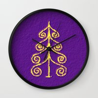 christmas tree Wall Clocks featuring Christmas Tree* by Mr and Mrs Quirynen