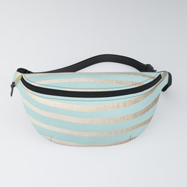 Simply Drawn Stripes White Gold Sands on Succulent Blue Fanny Pack