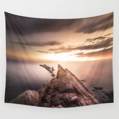 Sunset Coast, Waves and Rocks Wall Tapestry