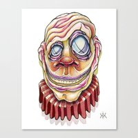 clown Canvas Prints featuring Clown by Kikillustration