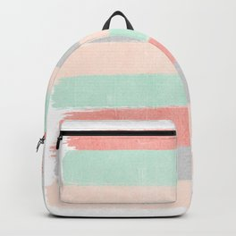 Stripes hand painted abstract minimal nursery decor gender neutral palette Backpack