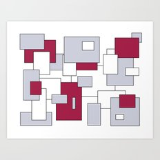 Squares - purple, gray and white. Art Print
