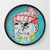 the life aquatic Wall Clocks featuring Aquatic Life by Derek Eads
