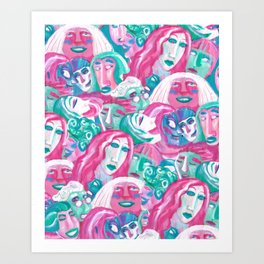 Bright crowd Art Print