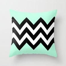 DOUBLE COLORBLOCK CHEVRON {MINT/BLACK} Throw Pillow