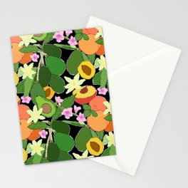 Avocado + Peach Stone Fruit Floral in Black Stationery Cards