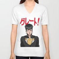 jjba V-neck T-shirts featuring GREAT! by dggeoffing