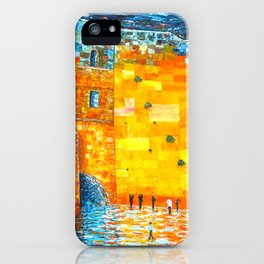 Jerusalem Wailing Wall Original Acrylic Palette Knife Painting iPhone Case