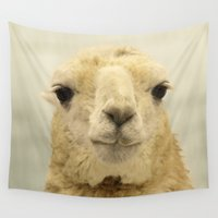 llama Wall Tapestries featuring White Llama... by Nature In Art...