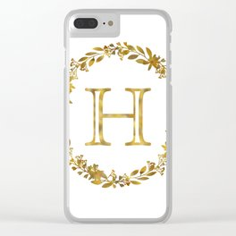 Monogram Letter H with Golden Wreath Clear iPhone Case