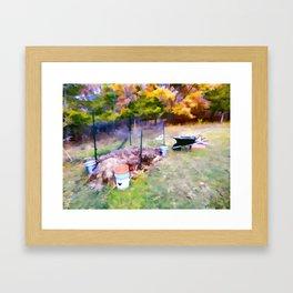 Compost in the garden Framed Art Print