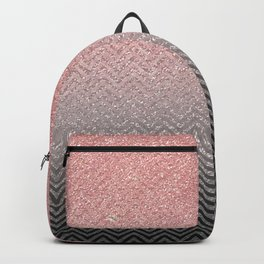 Blush chic pink  silver faux glitter geometrical Backpack