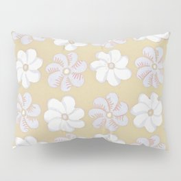 Floral design Yellow, light blue & Light Fuchsia Flowers Allover Print Pillow Sham