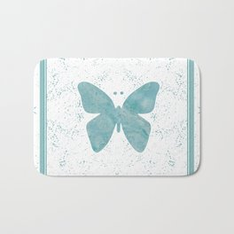 Decorative White Overlay Turquoise Marble Buttefly Bath Mat