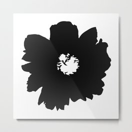 Black Peony Metal Print