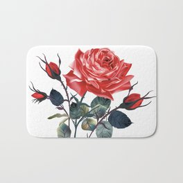 Beautiful vector realistic rose in vintage antique high detailed style Bath Mat