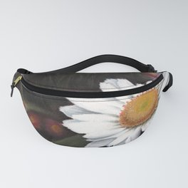 A white sunflower drawing using pastels Fanny Pack