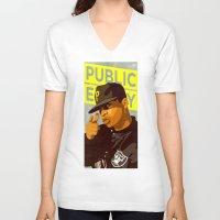 chuck V-neck T-shirts featuring Chuck D by Kim Hoffnagle