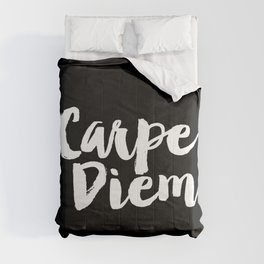 Carpe Diem black and white typography poster black-white design home decor bedroom dorm wall art Comforters