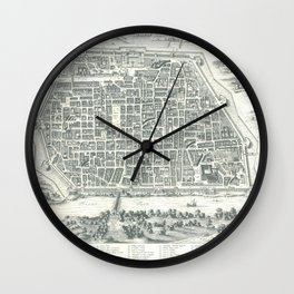 Old Map Of Pavia, Italy Wall Clock
