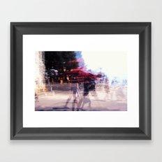 Summer holiday or under a red umbrella Framed Art Print