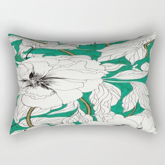 green peonies Rectangular Pillow