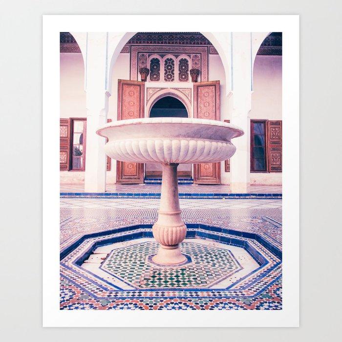 Tiled Moroccan Fountain in a Courtyard Fine Art Print Kunstdrucke