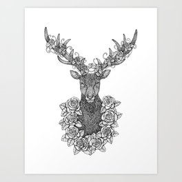 A Deer Portrait by Kent Chua Art Print