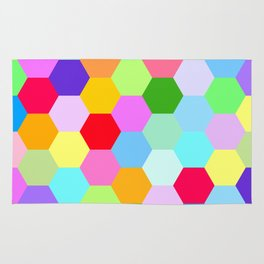 Multicoloured Hexagon Pattern Rug