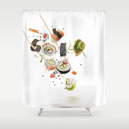 sushi rolls and ingredients with wooden chopsticks isolated on white background Shower Curtain